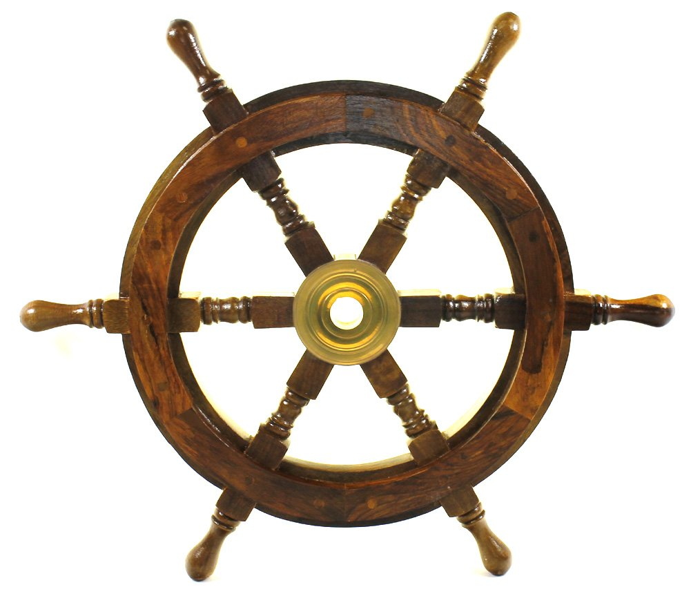 Pirate bathroom decor - 18 Inch Ship Wheel Wooden Pirate Boat Nautical Fishing