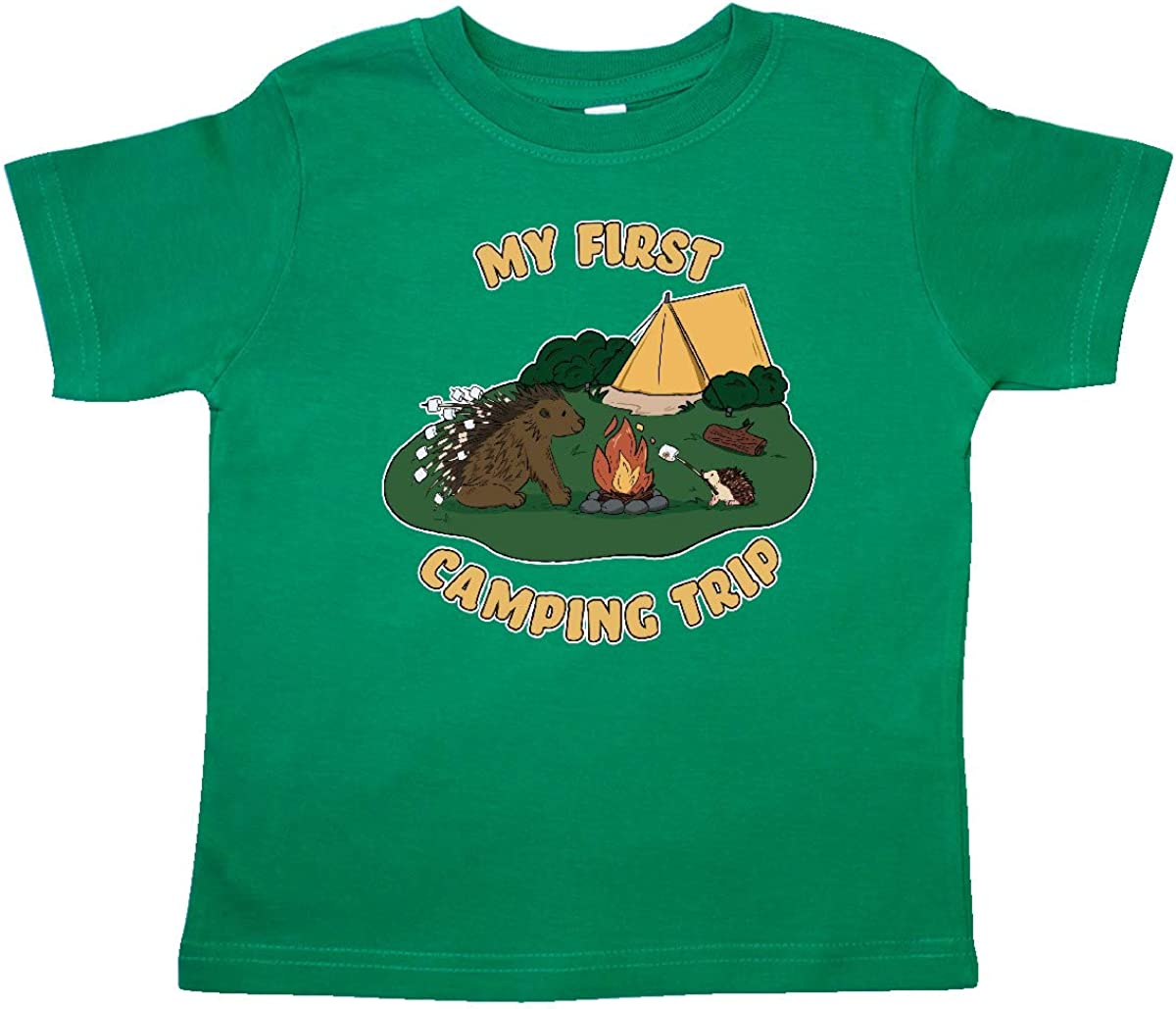 inktastic Camping Hedgehog-My First Camping Trip Toddler T-Shirt