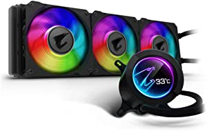 Gigabyte Aorus Liquid Cooler 360, All-in-one Liquid Cooler with Circular LCD Display, RGB Fusion 2.0, Triple 120mm ARGB Fans