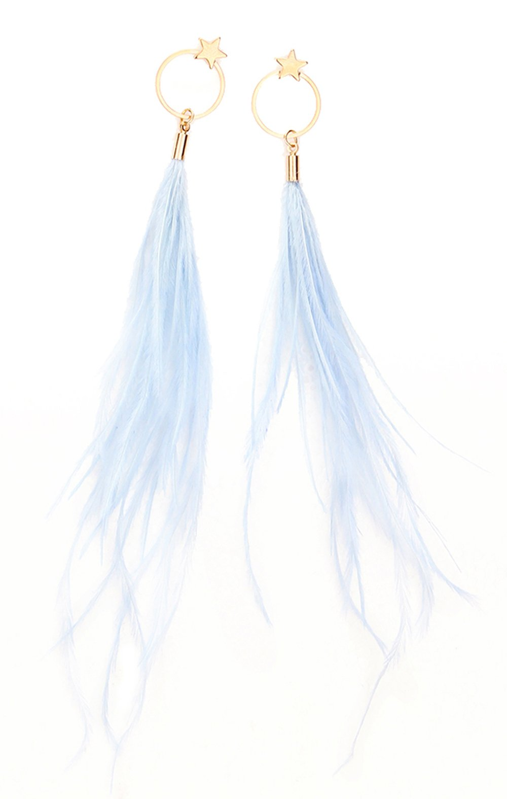 Fashion Boho Elegant Thread Dangle Earrings Star&Round Embellishment Handmade Feather Jewelry Blue
