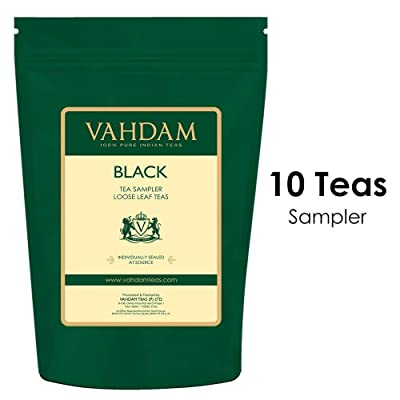 VAHDAM, 10 BLACK TEA SAMPLER, 50 cups Assorted Tea–Darjeeling Tea, Black Assam Tea, Black Tea Earl Grey, English Breakfast Blend –Hot Tea Sampler, Flavored Tea Variety Pack, Loose Tea Sampler Gift Set