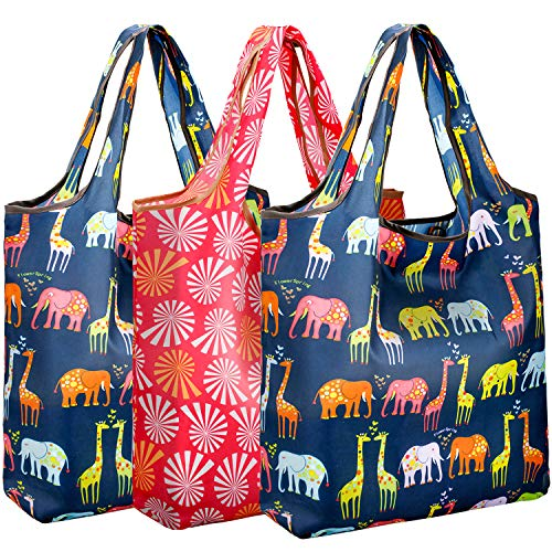 REGER Foldable Shopping Grocery Bags Reusable & Machine Washable (Medium Size) for Environmental Protection (Floral 01, Pack of 4)