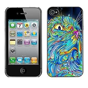 YiPhone /// Prima de resorte delgada de la cubierta del caso de Shell Armor - The Psychedelic Pattern Cat - Apple iPhone 4 / 4S