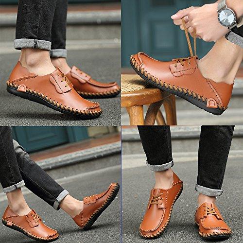 Leder Fashion auf Braun Schuhe Loafers Casual Schuhe Meiping Slip Männer Fahren BwqantI