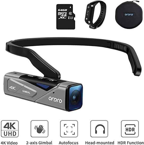ORDRO 4K 60FPS Hands-Free Camcorder Head Wearable Vlog Video Camera EP7 Built in 2-Axis Gimbal with 64G TF Card