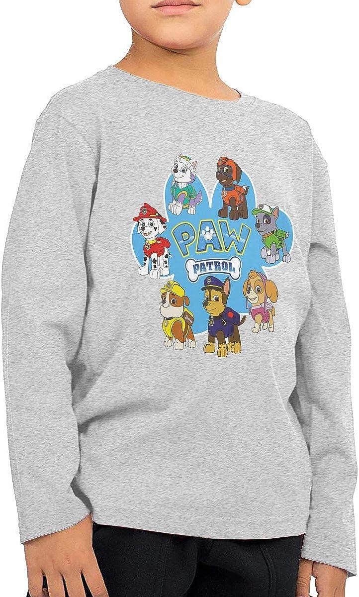 Shanala Kids Paw Cartoon Patrol Long Sleeve T-Shirt for Girls /& Boys Gray