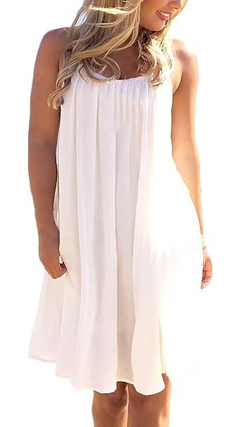 Mujer Vestidos Verano Vestido De Gasa Vestidos De Fiesta Cortos Elegantes Sin Mangas Espalda Dulce Lindo