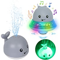 Leipal Baby Light Up Bath Tub Toys Whale Water Sprinkler Pool Toys 2 in 1 Space UFO Car with Musical Fountain Toy for Toddlers Infants Kids