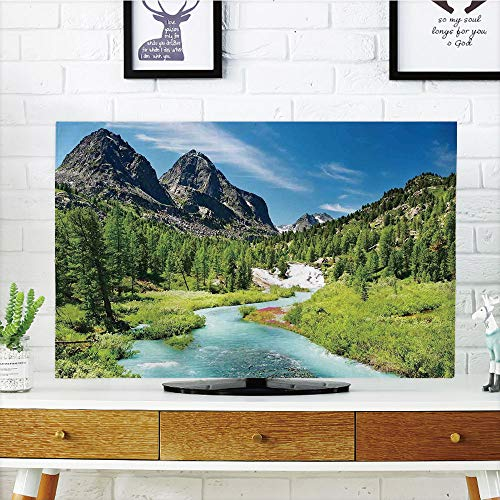 iPrint LCD TV dust Cover,Altai Pine compatibleest,Raincompatibleest River Rocky Mountains Snenery Siberia Whitewater Decorative,3D Print Design Compatible 37