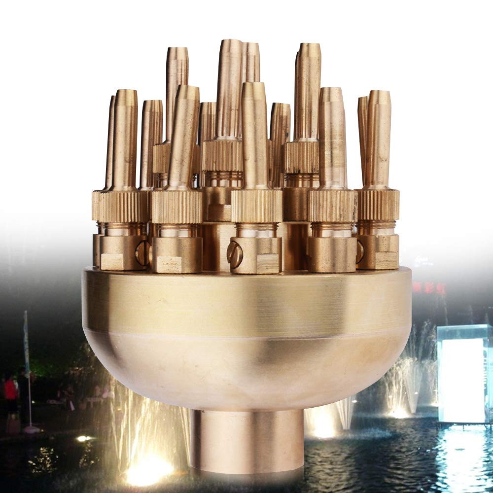 1.5'' Adjustable Water Fountain Nozzle Spray, 19 Flower Sprinklers Scattering Spray Head Brass Cluster for Garden Pond Pool Amusement Park Museum Library Outdoor Fountain Decorations Accessories
