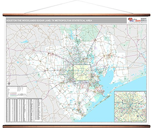 MarketMAPS Houston-The Woodlands-Sugar Land, TX Metro Area Wall Map - 2018 - ZIP Codes - Laminated with Wooden Rails - 64 x 48 inches