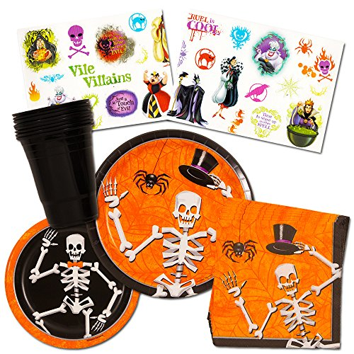 Halloween Party Supplies for Kids -- Plates, Cups, Napkins and Party (Disney Villains Halloween Decorations)