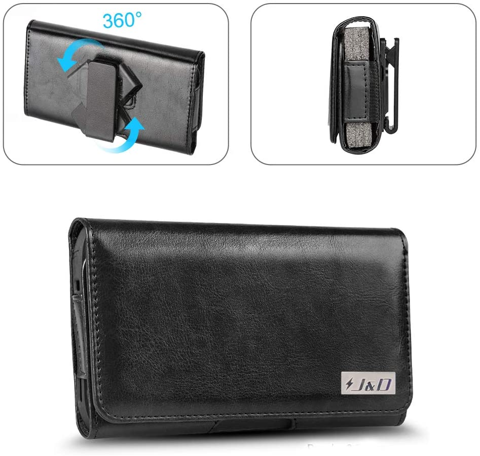 J&D Holster Compatible for iPhone 12 Pro Max/11 Pro Max/Xs Max/iPhone 8 Plus/7 Plus Holster, PU Leather Pouch Case with Belt Clip, Leather Wallet Case (Fit with Naked Phone or Slim Case on)