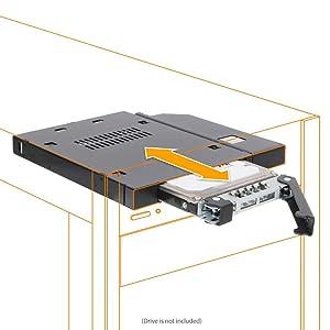 "ICY DOCK 2.5"" SATA/SAS HDD/SSD Hot Swap Mobile Rack Hard Drive Caddy Adapter Case for Slim ODD or Slim FDD Drive Bay Laptop - ToughArmor MB411SPO-B"
