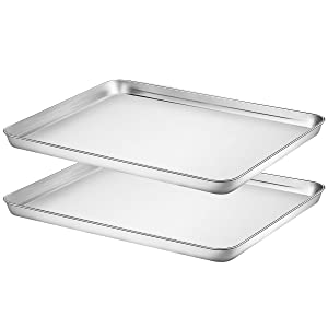 Baking Sheet Set of 2, HKJ Chef Stainless Steel Cookie Sheet Set 2 Pieces Toaster Oven Tray Pan Non Toxic ,HealthyEasy Clean