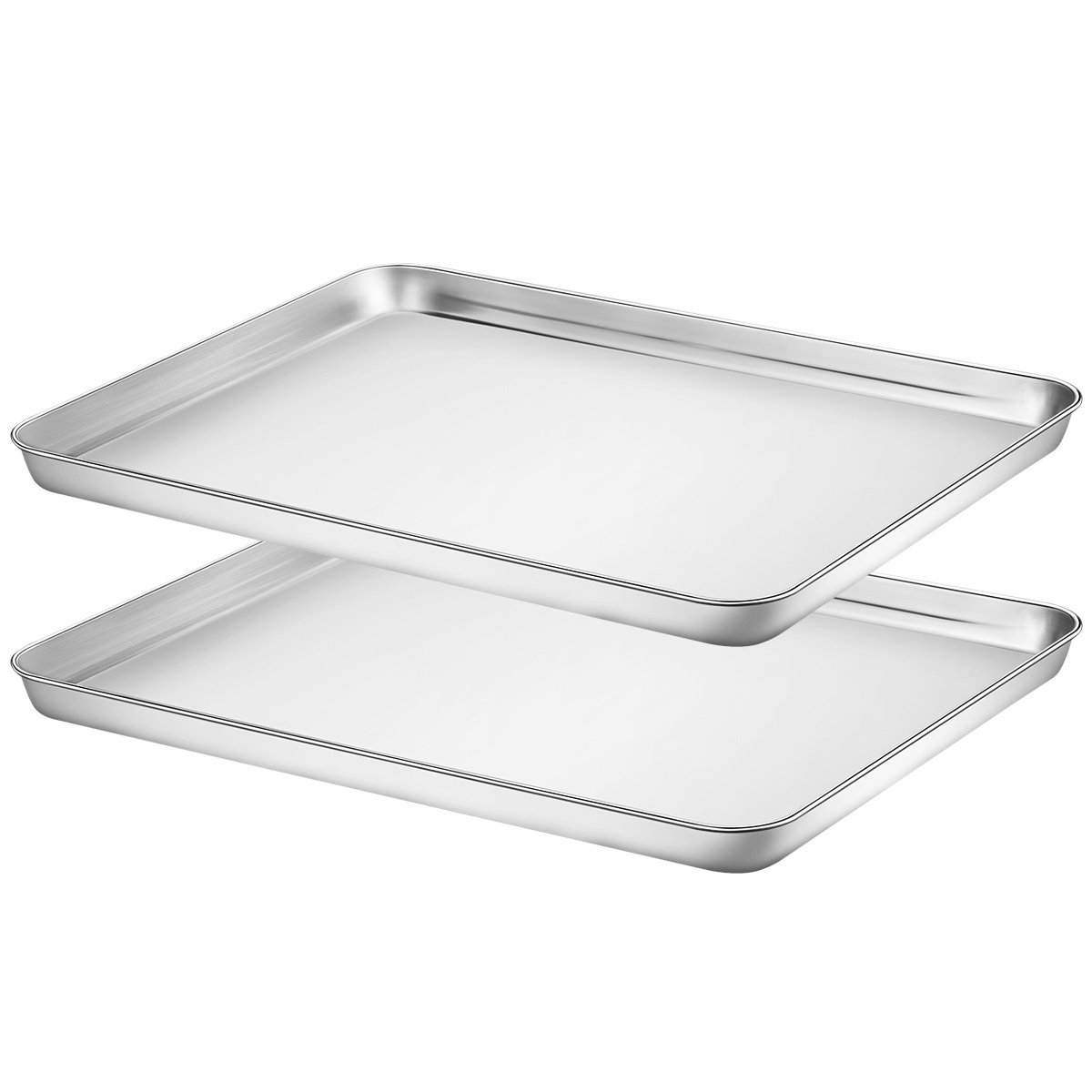 Large Baking Sheets Set 2, HKJ Chef Cookie Sheets 2 Pieces & Stainless Steel Baking tray & Toaster Oven Baking Pans & Non Toxic & Healthy & Easy Clean & Dishwasher Safe