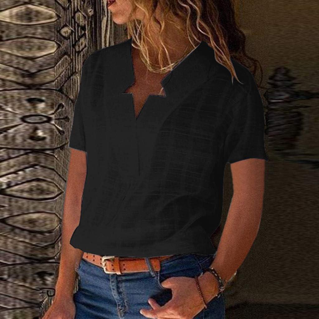 Qingsiy Camisas Mujer Tallas Grandes Moda Camiseta sólida Mujer ...