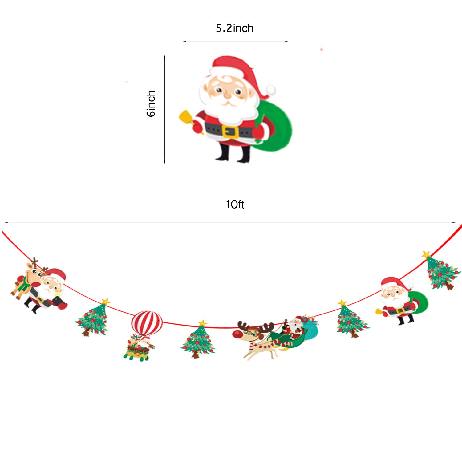 aheng Merry Christmas Banner Set, 10ft Red Glittery Chirstmas Banner for Holiday Party Home Decoration Supplies