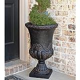 Classic European Style Design Black Cast Stone Urn Planter