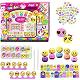 Kids Nail Polish - Non Toxic Emoji Nail Art Manicure and Pedicure Kit With Scented Stickers, Peel-Off Nail Polish and More For Hours of Fun - Gifts Set for Girls 6 Years and Older by SMITCO