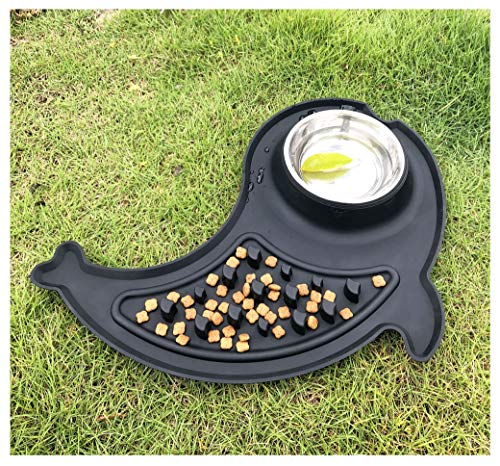 Slow Feeder Dog Bowls for Small Dogs, Comtim 2 in 1 Slow Eating Dog Bowls Stainless Steel Pet Food and Water Bowl with…