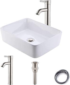 Kes Bathroom Vessel Sink With Faucet Combo 19 14 6 Rectangular Vessel Sink With Faucet Above Counter Vessel Sink Brushed Nickel Faucet Matching Metal Pop Up Drain Bvs110 C2 Amazon Com