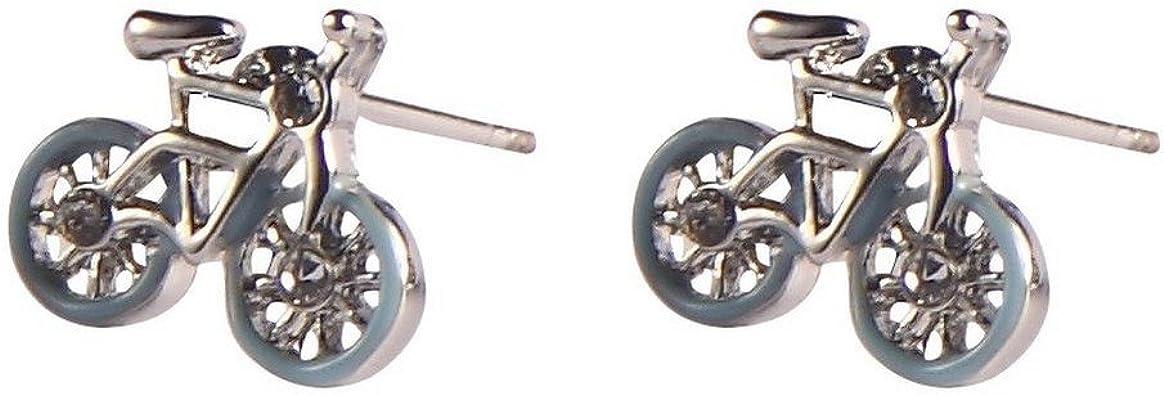 Stud Pendientes para bicicleta (azul sobre plata) fabricada con ...