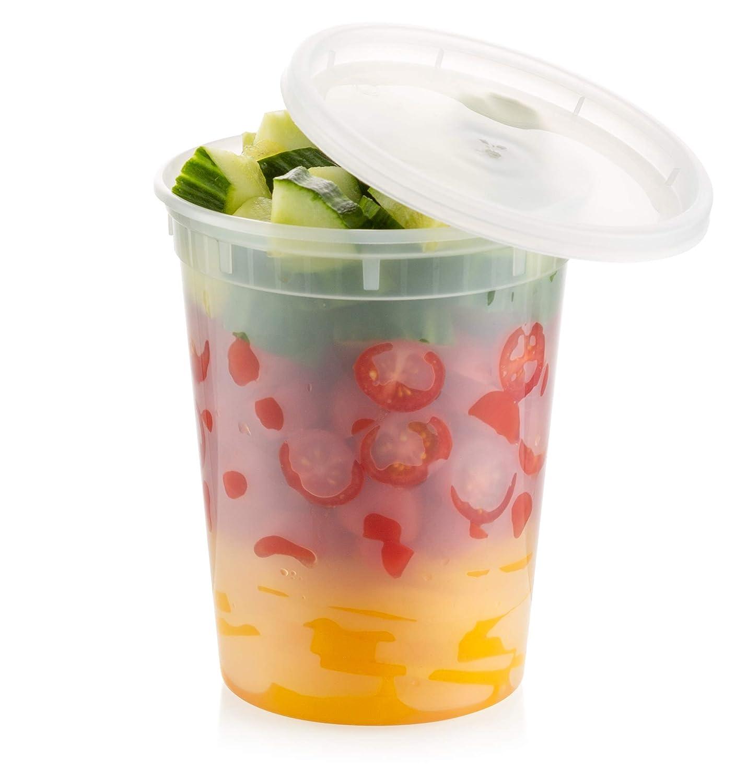 ZEML 32 oz. Deli Food Storage Containers With Leak-proof Lids - 24 Sets