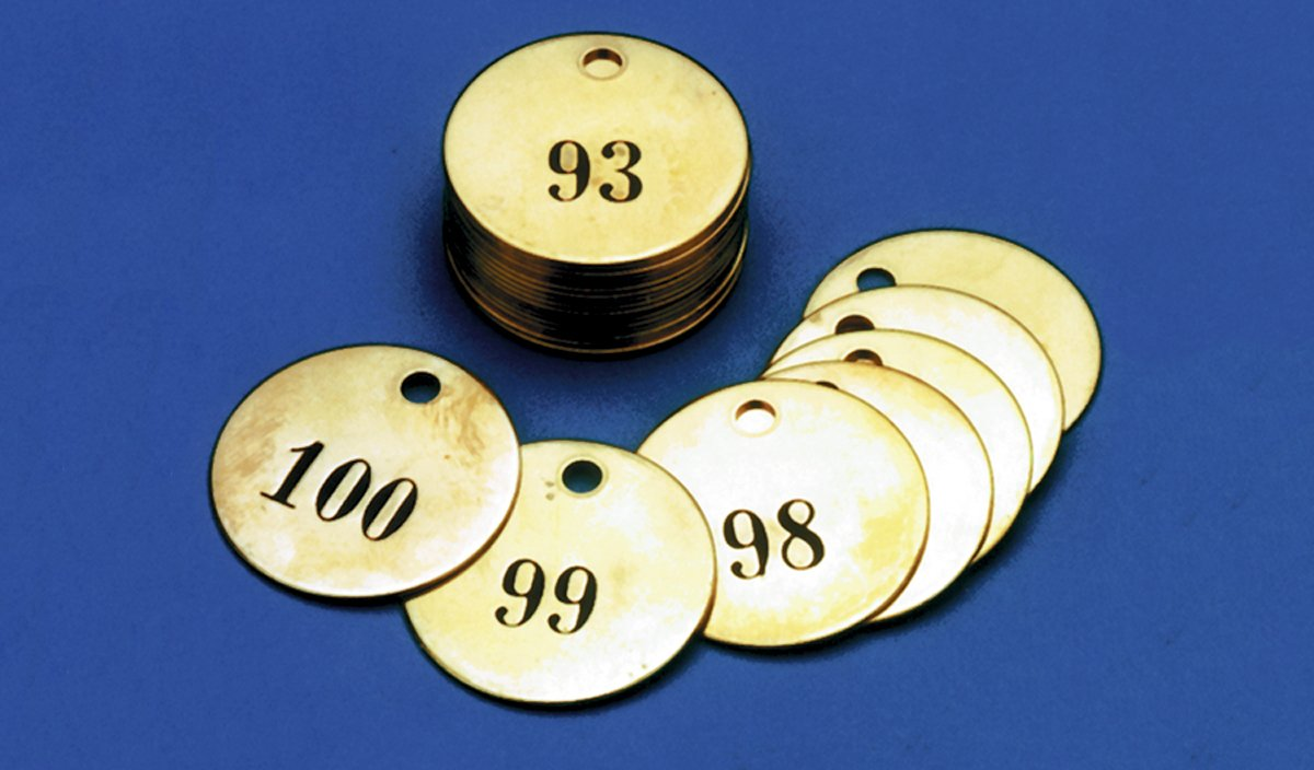 Accuform TDN103 Brass Numbered Identification Tag, 26 to 50 Series, 1-1/2'' Diameter, 1.5'' x 1.5'' (Pack of 25)