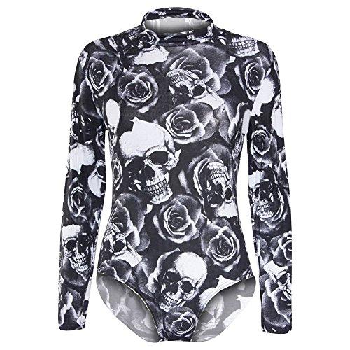 Janisramone nuevas señoras para mujer Polo Tortuga Cuello Plain impreso Body de maillot de manga larga para hombre Skull Rose