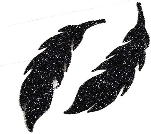 Black Yalulu 2Pcs Leaf Feather Crystal Rhinestone Patch Iron on Patches for Clothing Heat Transfer for T-Shirt Badges Applications DIY Appliques