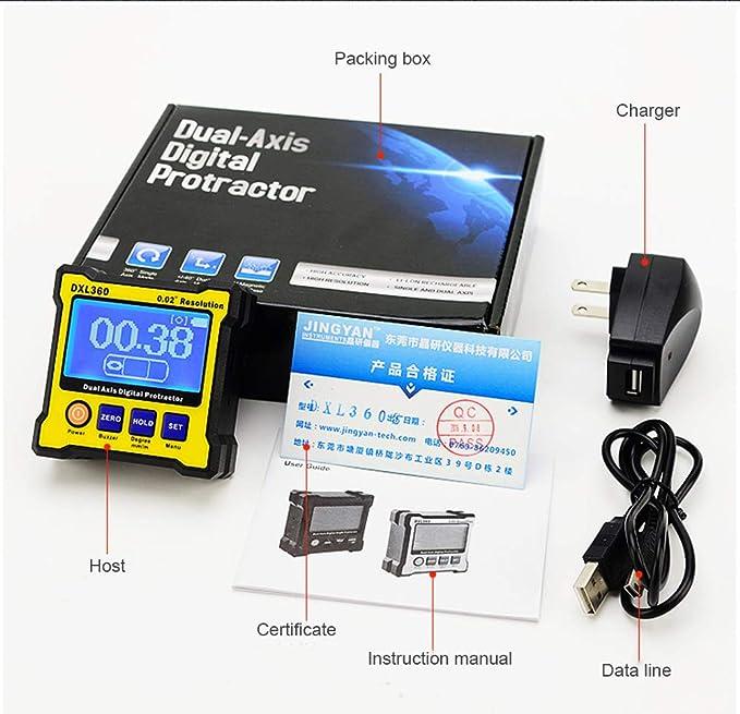 LHZTZKA Inclinómetro Digital Transportador Base electrónico Caja ...