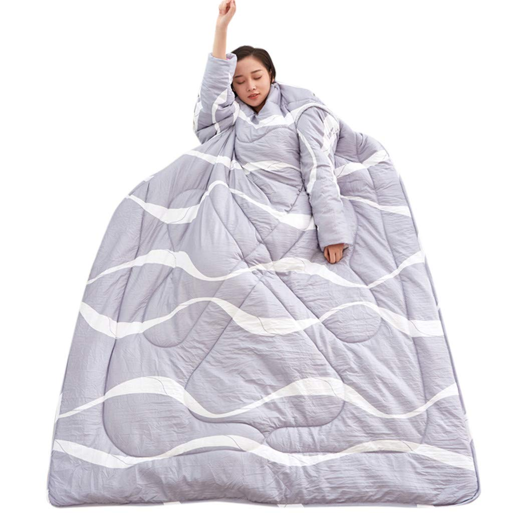 Sonmer Winter Lazy Warm Print Thickened Washable Quilt Blanket, With Sleeves (E)