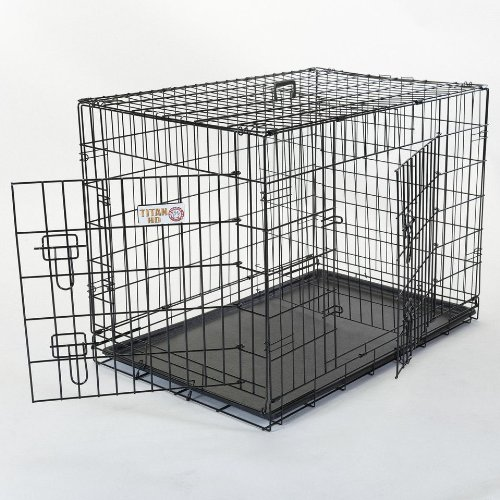 30″ Double Door Folding Dog Crate Cage Two 2 – Medium Review