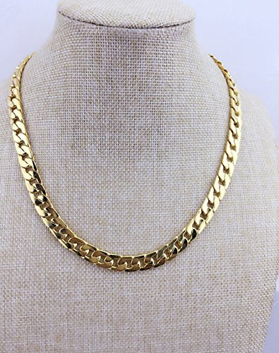 Adecco LLC Ultra Luxury Look & Feel Real Solid 14k Gold plated Curb Fake Chain Necklace 10mm (Curb Rope Chain Necklace)