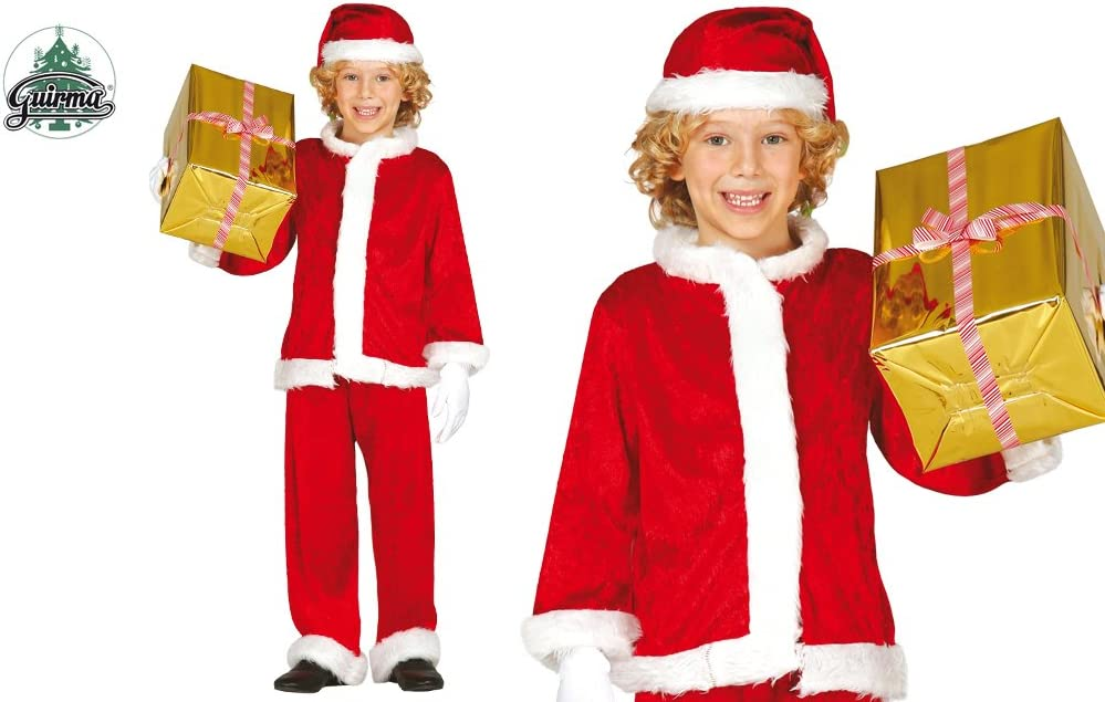 Guirca - Disfraz de Papá Noel para niño, Terciopelo, Rojo, 7-9 ...