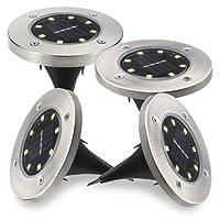 Aeeyui 4PCS Lampe Solaire au Sol Exterieur Lumière Douce et Chaud Ensevelies Atomique avec 8 LED IP65 Etanche Projecteur pour Jardin Escalier Cour Chemin (Lumière blanche chaude)