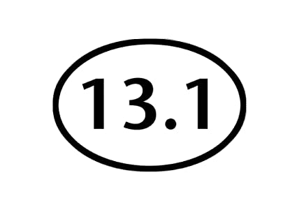 "13.1 Half-Marathon Runner  Oval car window bumper sticker decal 5/"" x 3/"""