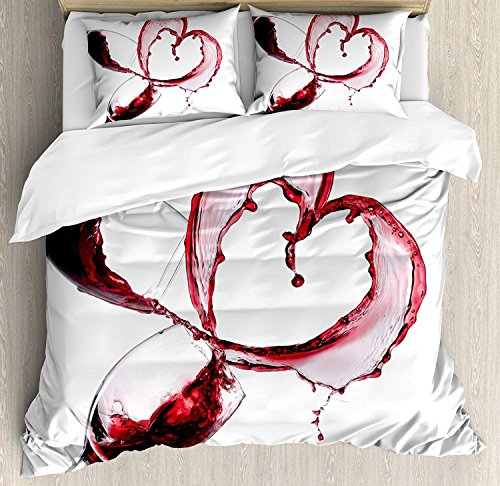 Wine 4 Piece Bedding Set Twin Size, Heart with Spilling Red Wine in Glasses Romantic Love Valentines Day Concept, Duvet Cover Set Quilt Bedspread for Childrens/Kids/Teens/Adults, Burgundy White Pink