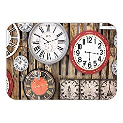 Minicoso Doormat Clock Decor Antique Clocks on the Wall Instruments of Time Vintage Decorative Pattern Brown and Red