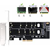 QNINE Dual M.2 PCIe Adapter, M2 SSD NVME ( m key ) or SATA ( b key ) 22110 2280 2260 2242 2230 to PCI-e 3.0 x4 Host Controller Expansion Card with Low Profile Bracket for Desktop PCI Express Slot
