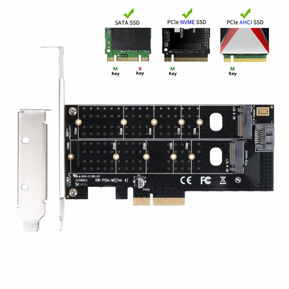 QNINE Dual M.2 PCIe Adapter, M2 SSD NVME (m key) or SATA (b key) 22110 2280 2260 2242 2230 to PCI-e 3.0 x4 Host Controller Expansion Card with Low Profile Bracket for Desktop PCI Express Slot