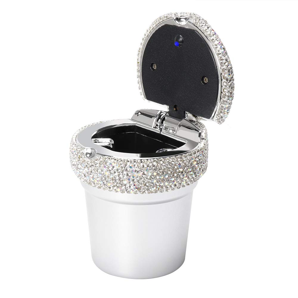 Diamond Car Ashtray with Bling Crystal Diamond Fireproof Stainless Lid and Cool Blue Led Light Indicator Portable Fit for Most Vehicle Smokeless Stand Cylinder Car Cup Holder
