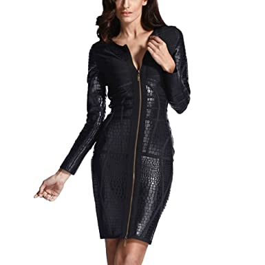 b618c7dfdc38 HLBandage Leather Long Sleeve Front Zipper Sexy Women s Bodycon Bandage  Dress (XS