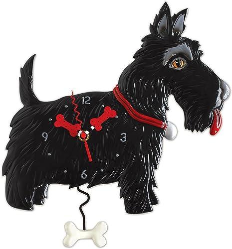 "Allen Designs ""Scottie"" Whimsical Black Scottish Terrier Dog Pendulum Wall Clock"