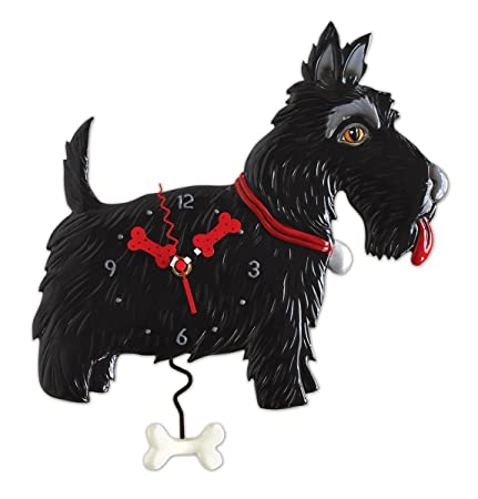 Allen Designs Scottie Whimsical Black Scottish Terrier Dog Pendulum Wall Clock