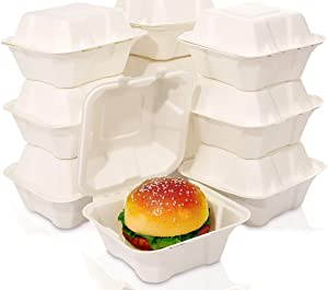 WDF 125Pack Compostable Food Containers-1 Compartment Sugarcane Fiber Togo Containers with Lid -6inch Biodegradable Take Out Food Containers Microwave and Freezer Safe