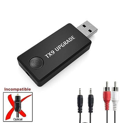 Transmisor Bluetooth, LURICO Transmisor de Música Bluetooth Adaptador, 3.5mm Audio Jack Soporte Auriculares