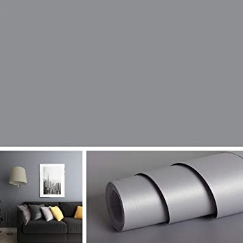 Buy Livelynine Solid Grey Wall Covering Removable Wallpaper Peel And Stick Countertops Old Furniture Decorations Matte Gray Vinyl Adhesive Shelf Liners For Kitchen Cabinet 15 8 X78 8 Roll Online At Low Prices In India