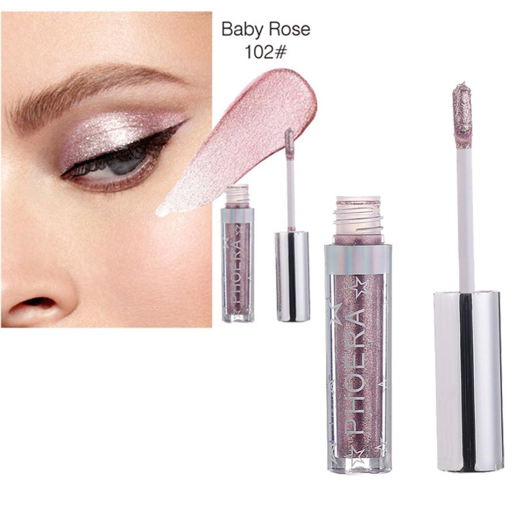 AMA(TM) 12 Colors Makeup Metallic Shining Eyeshadow Waterproof Glitter Liquid Eye Shadow Eyes Comestics (B)